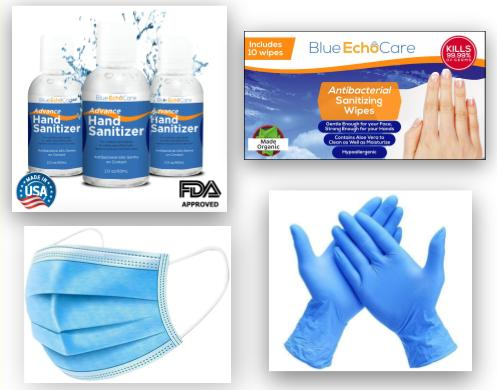 Click Here Masks, Sanitizers, Wet Wipes and Gloves